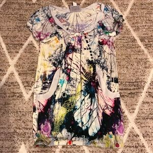 Desigual Neon Graffiti Tunic Top Dress